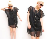 80s Sheer Mesh Top - Black Sheer Shirt - Gothic Tunic Top - 1980s Oversized Mesh Cover Up - Gold Button Up - S M L 4 6 8 10