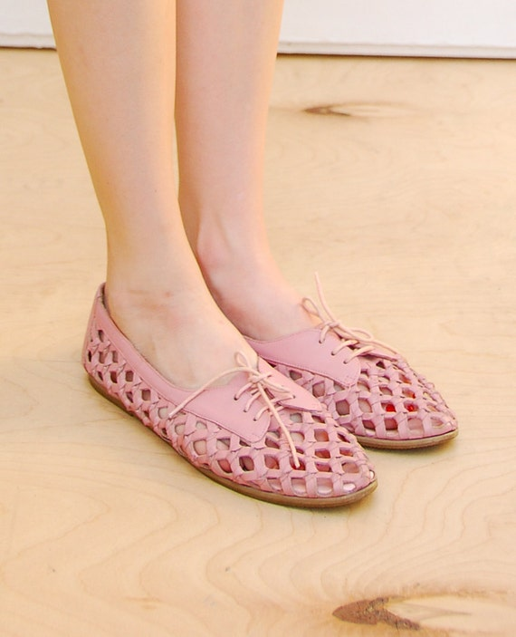 80's Rose Pink // Sheer Woven - Lace Up Oxford - Flats 7 8
