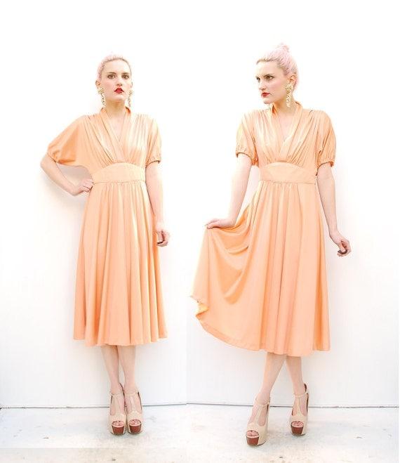 70s Pastel Dress - Grecian Dress - Peach Dress - Plunging Neckline- Midi - Cummerbund Waist XS S 0 2 4