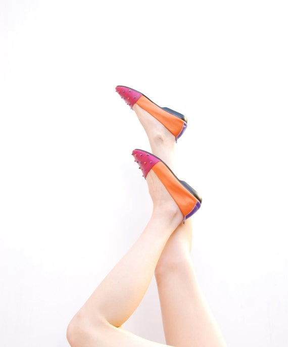 90s Color Block Flats - Colorful Shoes - BOLD Color Block Shoes - Spring Fashion - Summer Fashion - Hipster Shoes - 6 6.5 6 1/2 M