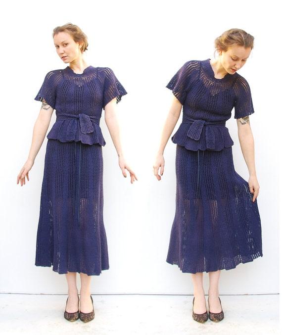 RESERVED 30s Dress - Hand Crocheted Dress - Lace Dress - Antique Dress - 1930s Dress  - 4 6 S