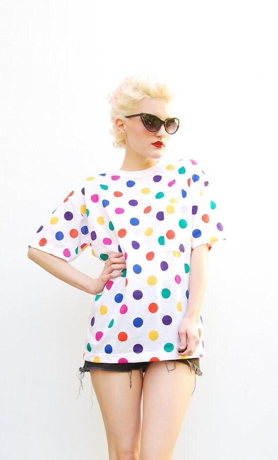 80s Shirt - Polka Dot Blouse - Spring Fashion - 1980s T-Shirt - Colorful Top - Vintage Tee - Summer Fashion - NWT - S M