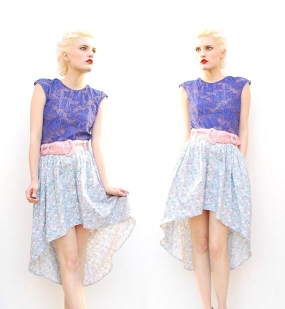 80s Pastel Floral High Low Skirt - Spring Fashion - Pastel Skirt - Floral Skirt - Fishtail Skirt - Asymmetrical Skirt - 8 10 12 M L