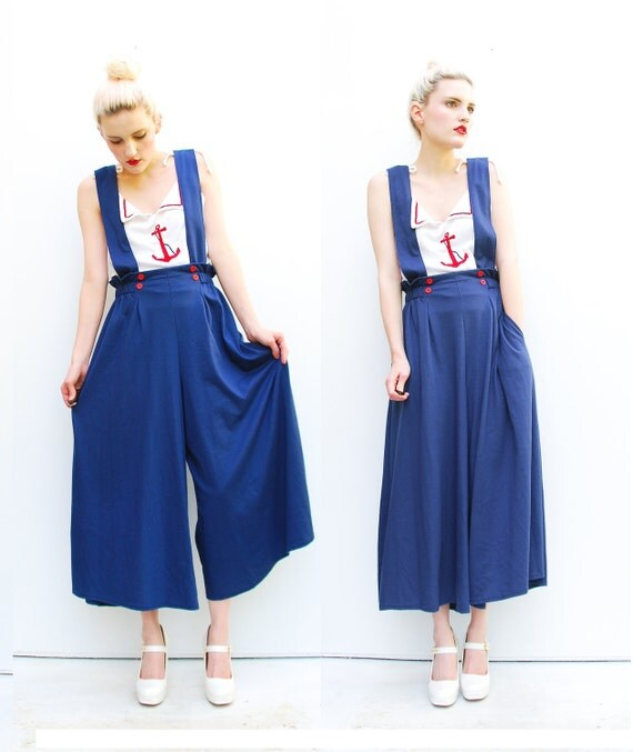 80s Palazzo Pants - Nautical Trousers - Suspender Pants - Summer Fashion - Navy Jumper - Hang Ten - S 2 4 6