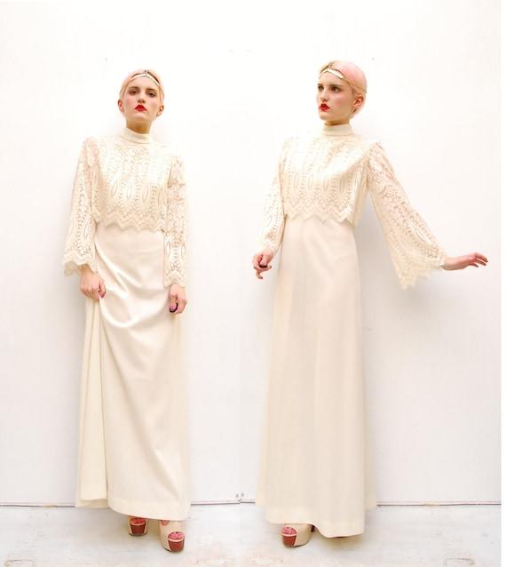 60s Boho Dress - Boho Wedding Dress - Spring Fashion - Ivory Lace Dress - Crochet Maxi Dress - Bohemian Dress - 6 8 S M