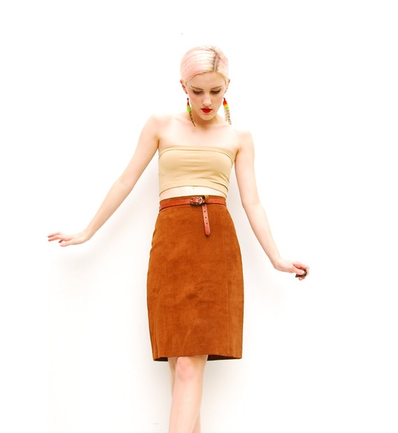 70s Leather Skirt - Brown Suede Skirt - Bodycon Skirt - Hippie Skirt - High Waist Skirt - Boho Leather Skirt XXS XS 00 0