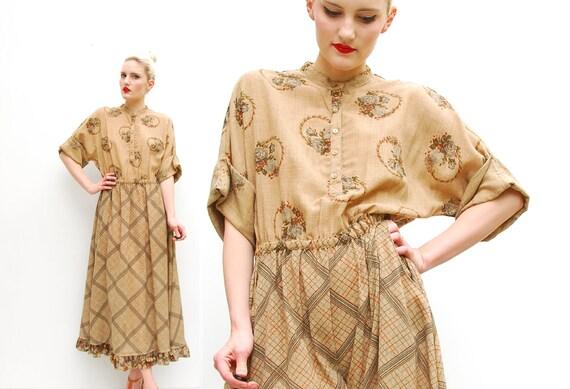70s does 40s Dress - Tan Folk Floral Print Dress - Plaid Boho Dress - Dolman Sleeves - Spring Fashion - Midi Dress - M 8 10