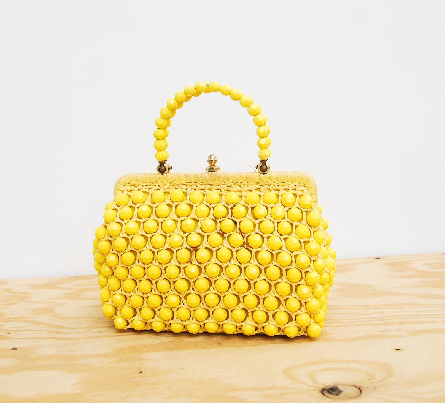60s purse yellow purse 1960s purse spring by shoppompomvintage