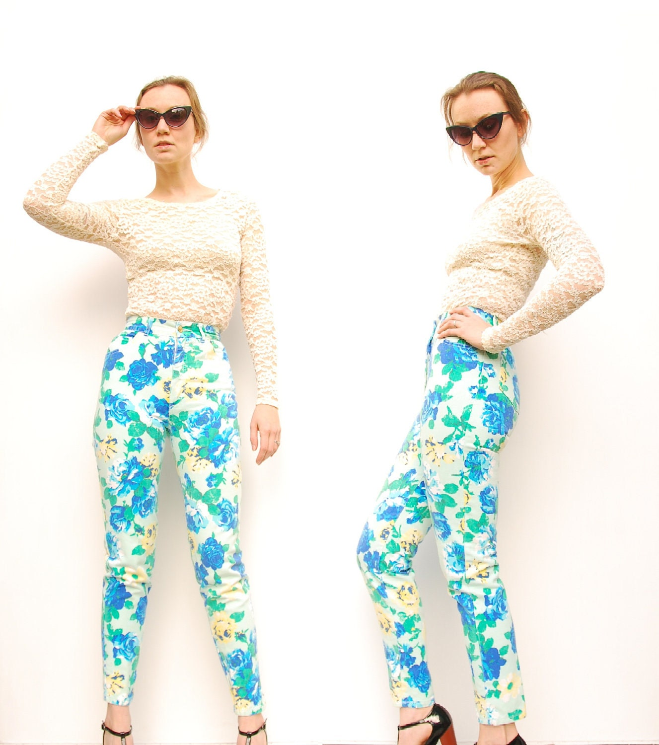 80s BONGO Jeans Floral Jeans High Waisted by SHOPPOMPOMVINTAGE