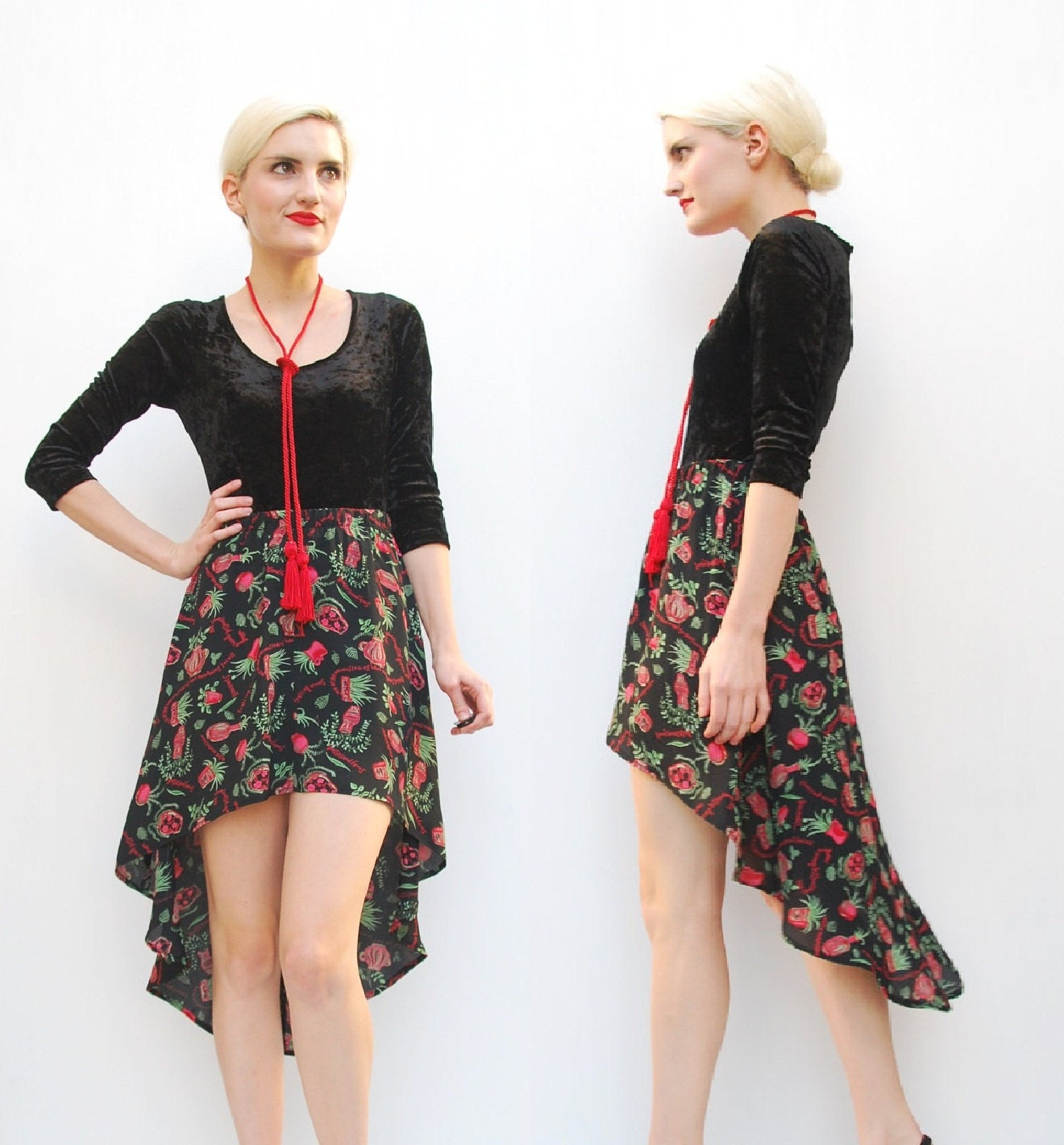 70s skirt high low skirt asymmetrical skirt hi lo skirt