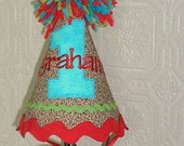 Birthday Party Hat - First Birthday Hat - Red Aqua and Lime Green