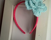 Turquoise Interchangeable Large Crochet Flower Hairclip on a Hot Pink Ribbon Wrapped Big Girl Headband