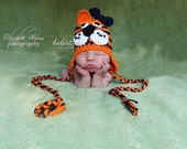 Tiger Hat NEWBORN Girl Crochet Beanie with Earflaps in Auburn Orange and Navy  with Crochet Bow Clip