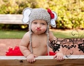 Crochet Elephant Hat with Earflaps and Alabama Red Crochet Bow - Newborn, Baby, Toddler Sizes - Great Photo Prop
