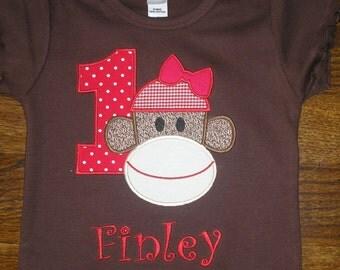 Girl Sock Monkey Birthday Shirt