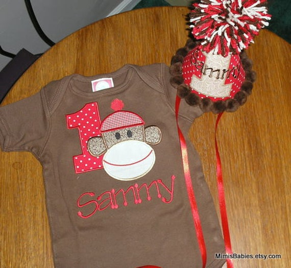 Sock Monkey Birthday Shirt and Hat Set Custom Size Shirt Customize With Any Number