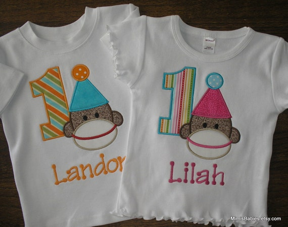 Sock Monkey Twins  Birthday Shirts