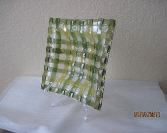 SALE - Basketweave Fused Glass Dish