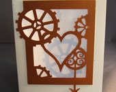 Cut Paper Valentine Steampunk Love Silhouette Art Greeting card - arwendesigns