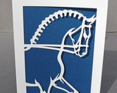 Cut Paper Dressage Horse Stallion Silhouette Art Greeting card - Set of 6 - arwendesigns
