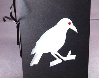 Crow Silhouette Halloween Greeting Card Black & White Cut Paper