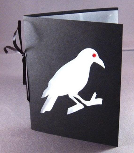 Crow Silhouette Halloween Greeting Card Black & White Cut Paper