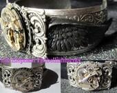 Black Wing - Steampunk Cuff Bracelet by Pink Elephant Embellishments