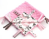 Tag Blanket Ribbon Lovey - Pink and White Paisley Satin with Pink Minky