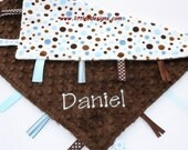 Personalized Tag Blanket Ribbon Lovey - Chocolate Minky with Blue and Brown Polka Dot Minky