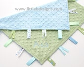 Personalized Tag Blanket Lovey - Light Blue with Sage Green Minky