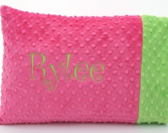 Personalized Minky Toddler Pillow Case and Pillow - Over 30 Fabrics Available