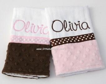 Personalized Minky Burp Cloth Set - Over 30 Minky Options