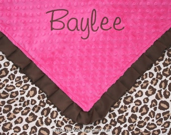 Personalized Baby Blanket - Leopard Satin and Hot Pink Minky with Ruffled Edge