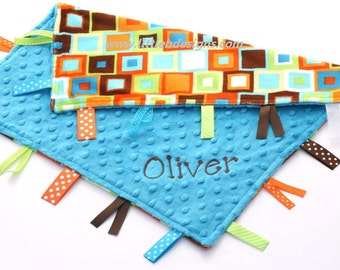 Personalized Baby Tag Blanket Ribbon Lovey - Orange and Lime Block Minky with Turquoise Minky - Teal