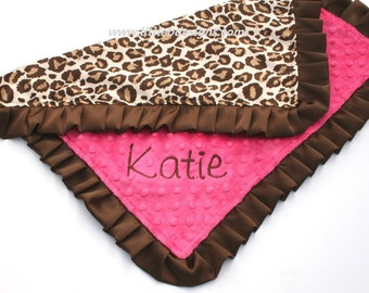 Personalized Baby Lovey Blanket - Leopard Satin and Hot Pink Minky With Brown Satin Ruffled Edge - Girl Blankie