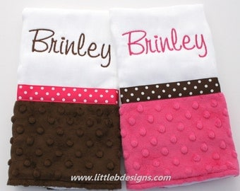 Burp Cloth Set Personalized with Over 30 Minky Options