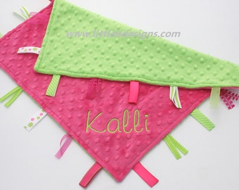 Personalized Ribbon Lovey Tag Blanket - Hot Pink and Lime Minky