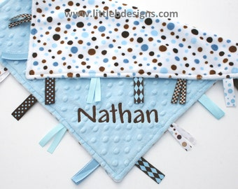 Personalized Baby Tag Blanket Ribbon Lovey - Light Blue with Blue and Brown Polka Dot Minky