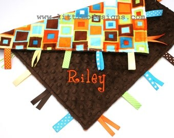 Personalized Ribbon Lovey - Orange and Lime Block Minky with Chocolate Brown Minky Dot