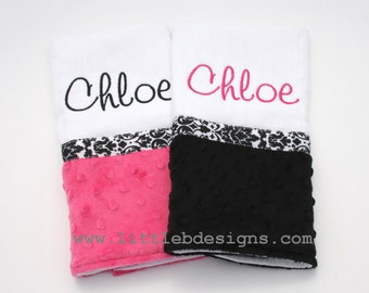 Personalized Burp Cloth Set - Over 30 Minky Fabrics Options Available
