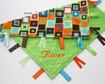 Personalized Ribbon Lovey - Orange and Lime Block Minky with Lime Green Minky Dot