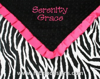 Personalized Baby Blanket - Zebra Print and Black Minky with Hot Pink Satin Ruffled Edge - Baby Girl Blanket