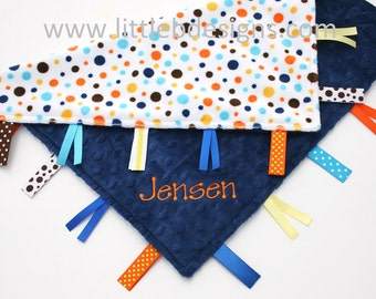 Personalized Baby Tag Blanket Ribbon Lovey - Orange and Blue Polka Dot with Navy Minky