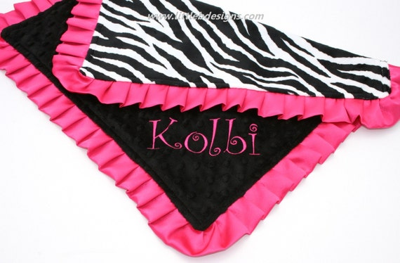 Personalized Ruffled Edge Lovey Baby Blanket - Zebra Print and Black Minky with Hot Pink Satin Ruffle - Girl Wooby