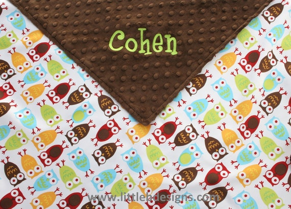 Baby Blanket Personalized - Owls Satin and Chocolate Minky