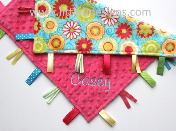 Personalized Ribbon Lovey Baby Tag Blanket - Hot Pink Minky with Teal with Pink and Lime Flowers