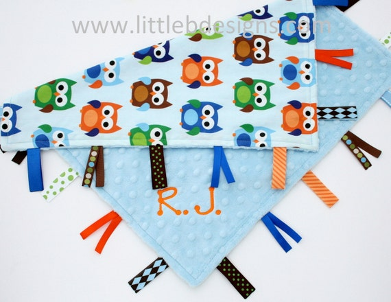 Personalized Owl Baby Tag Blanket Ribbon Lovey - Boy Owls Blanket Blue