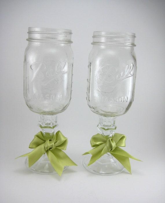 Mason jar glasses set of 2 - Mason jar goblets ...