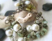 Chunky Wire Wrapped Bracelet, Gemstone Vintaj Glass Pearl Antique Brass Prehnite Burma Jade, Upcycled Jewelry,  - Magnolia