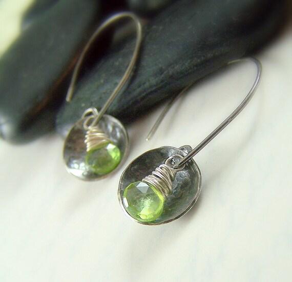 Peridot Earrings, Sterling Silver Green Gemstone, August Birthday, August Birthstone Jewelry, Handmade, Fashion - Sweet Pea